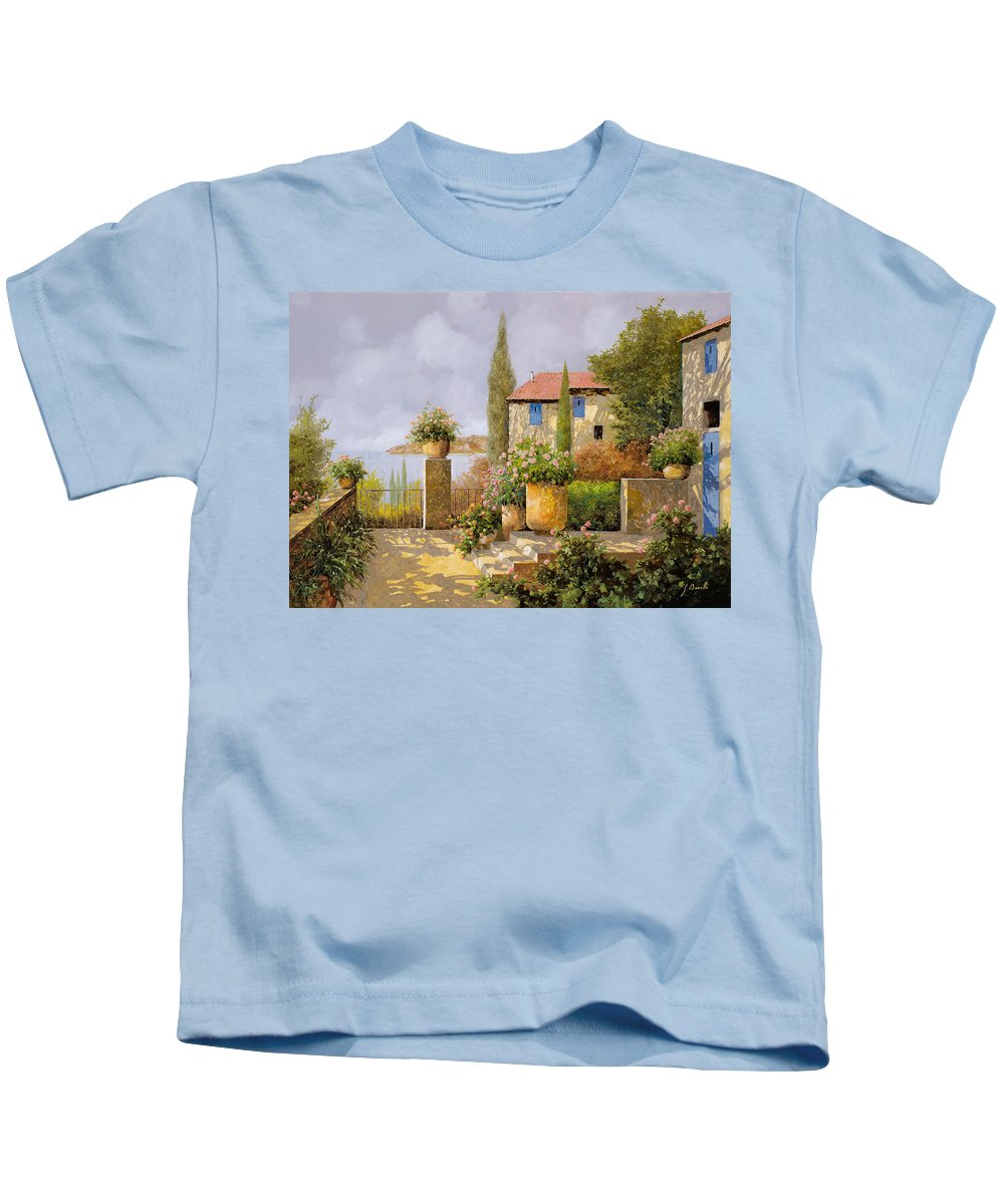 Terrace Kids T-Shirt featuring the painting Uno Sguardo Sul Mare by Guido Borelli