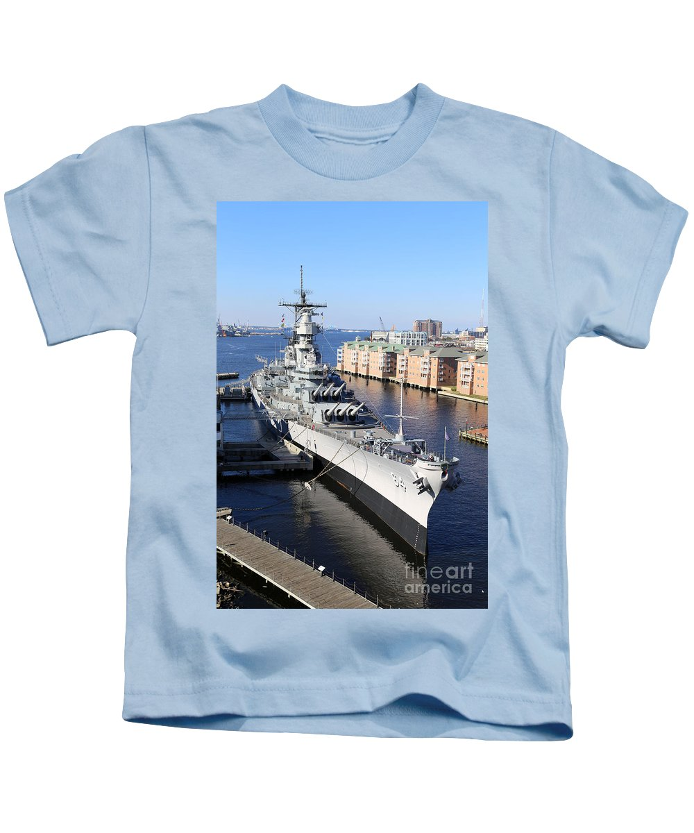 Uss Wisconsin Kids T-Shirt featuring the photograph U S S Wisconsin B B 64 by Dwight Cook