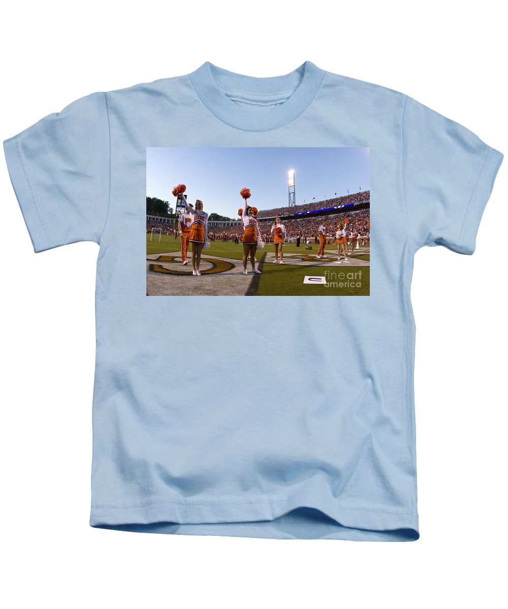 Football Kids T-Shirt featuring the photograph Uva Cheerleaders by Jason O Watson