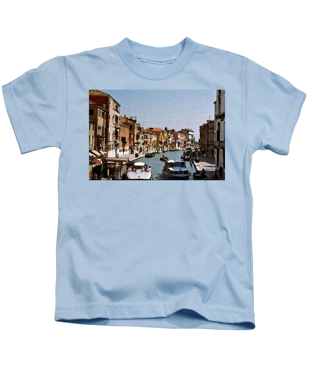 Venice Kids T-Shirt featuring the digital art Venice Canal by John Vincent Palozzi
