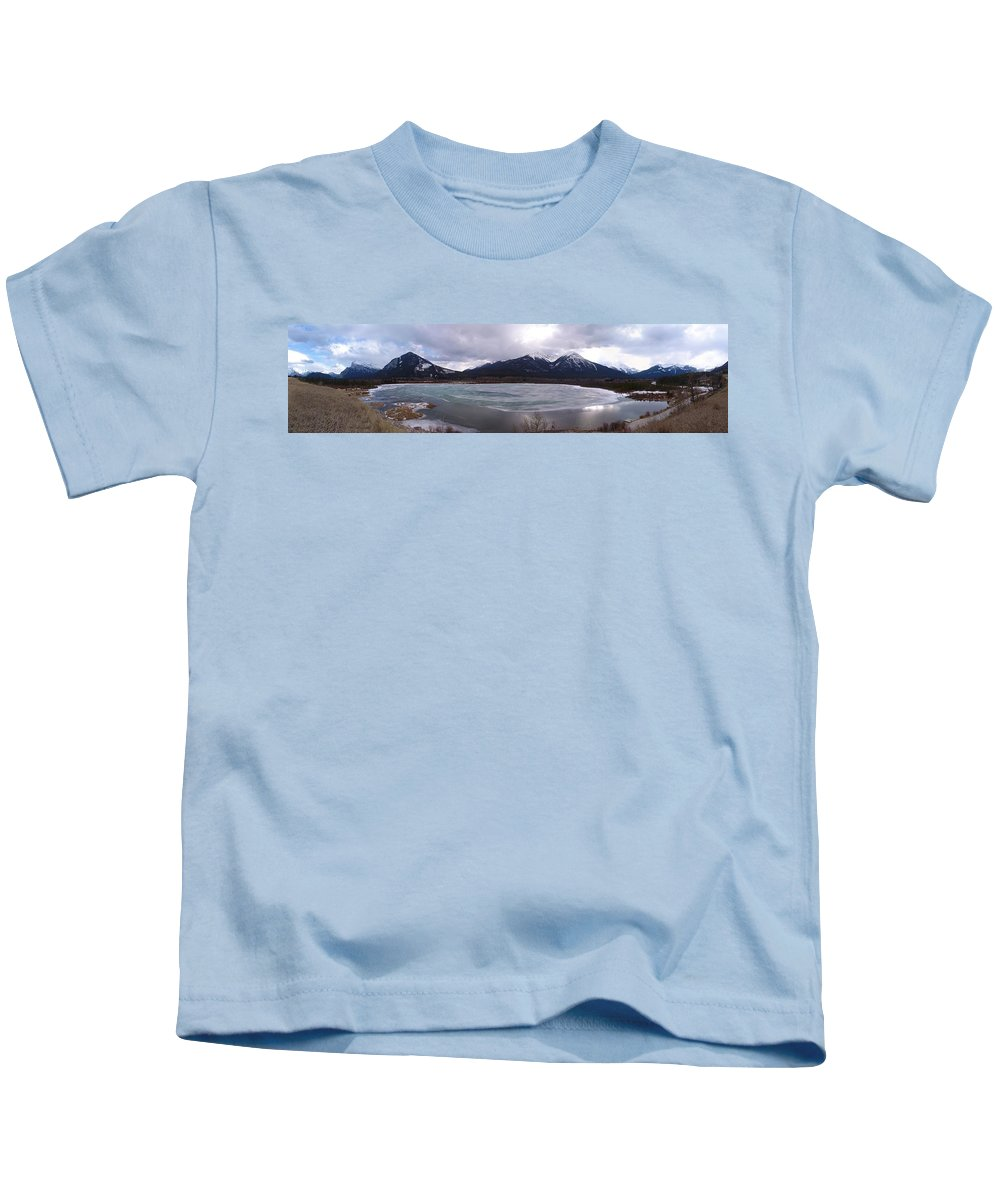 Vermillion Lakes Kids T-Shirt featuring the photograph Vermillion Lakes, Banff National Park - Panorama by Ian Mcadie