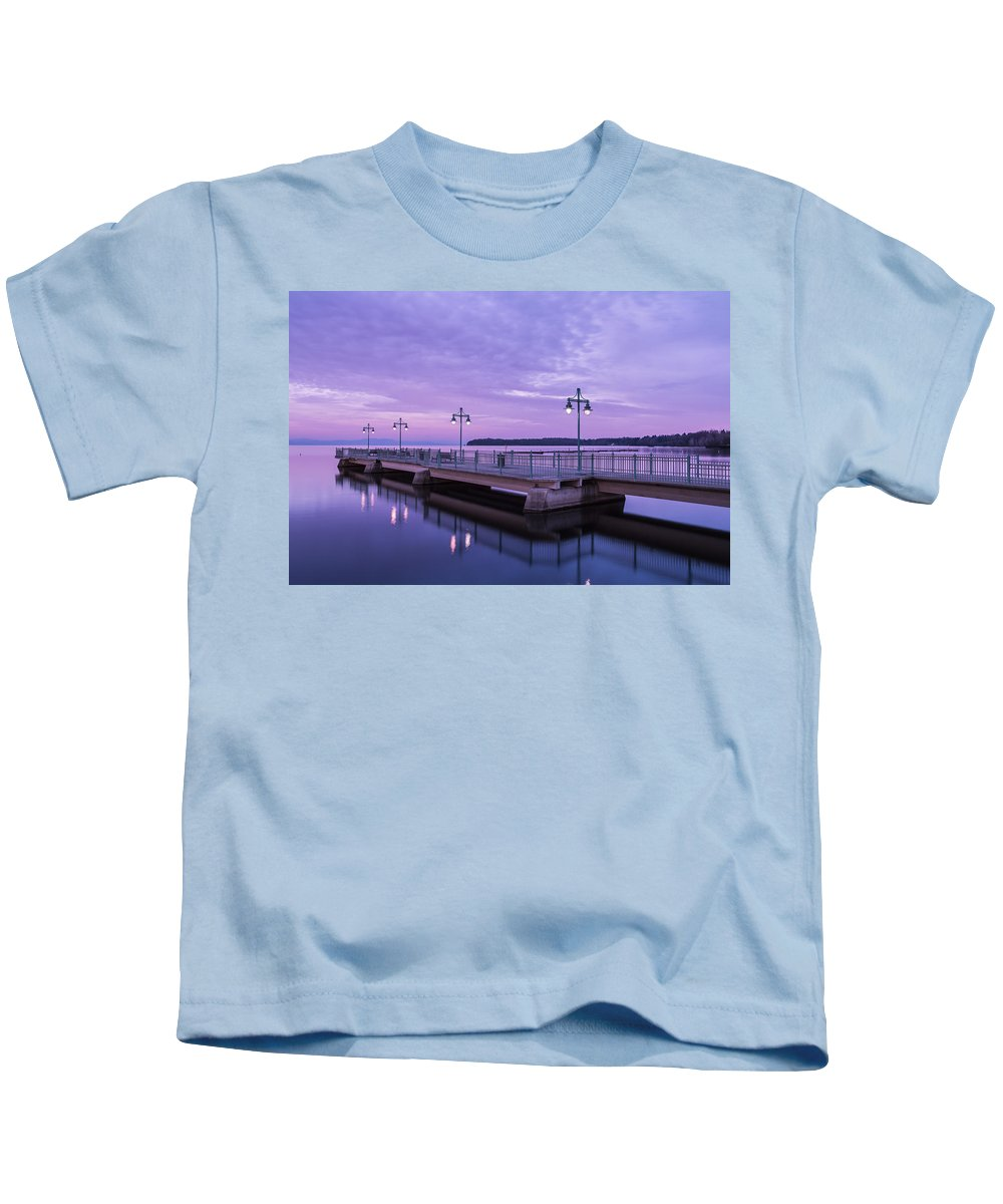 Vermont Kids T-Shirt featuring the photograph Vermont Lake Champlain Sunrise Clouds Fishing Pier by Andy Gimino