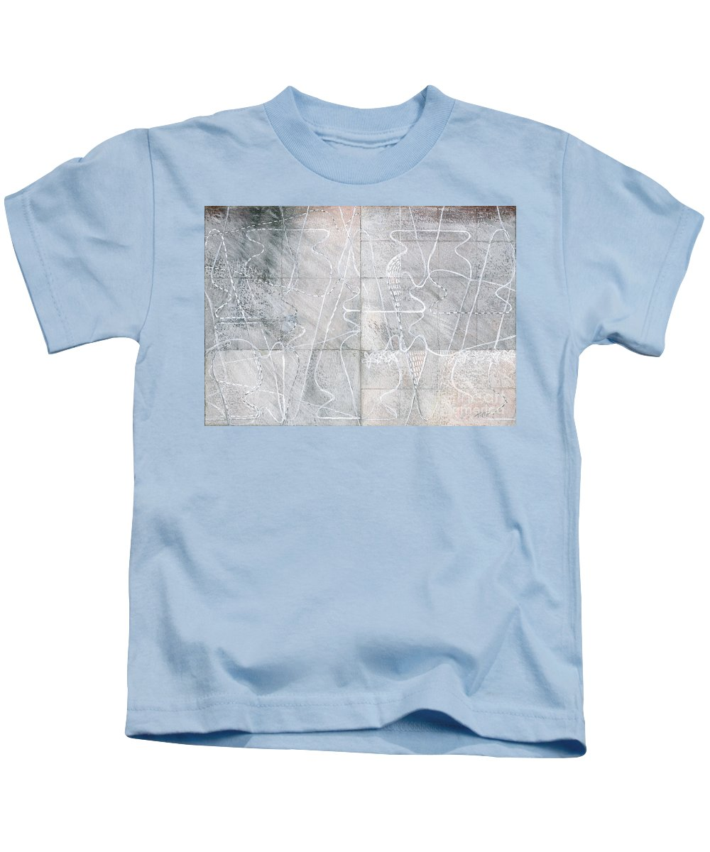 Mixed-media Kids T-Shirt featuring the drawing Vessel Scape by Kerryn Madsen-Pietsch