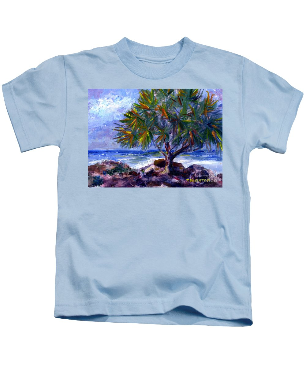 Hawaii Kids T-Shirt featuring the painting View at Maku'u by Diane Thornton