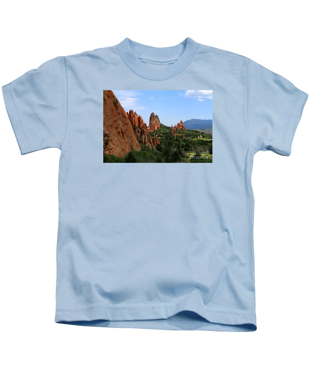 Colorado Kids T-Shirt featuring the photograph View Of Cathedral Valley - Garden Of Gods by Christiane Schulze Art And Photography
