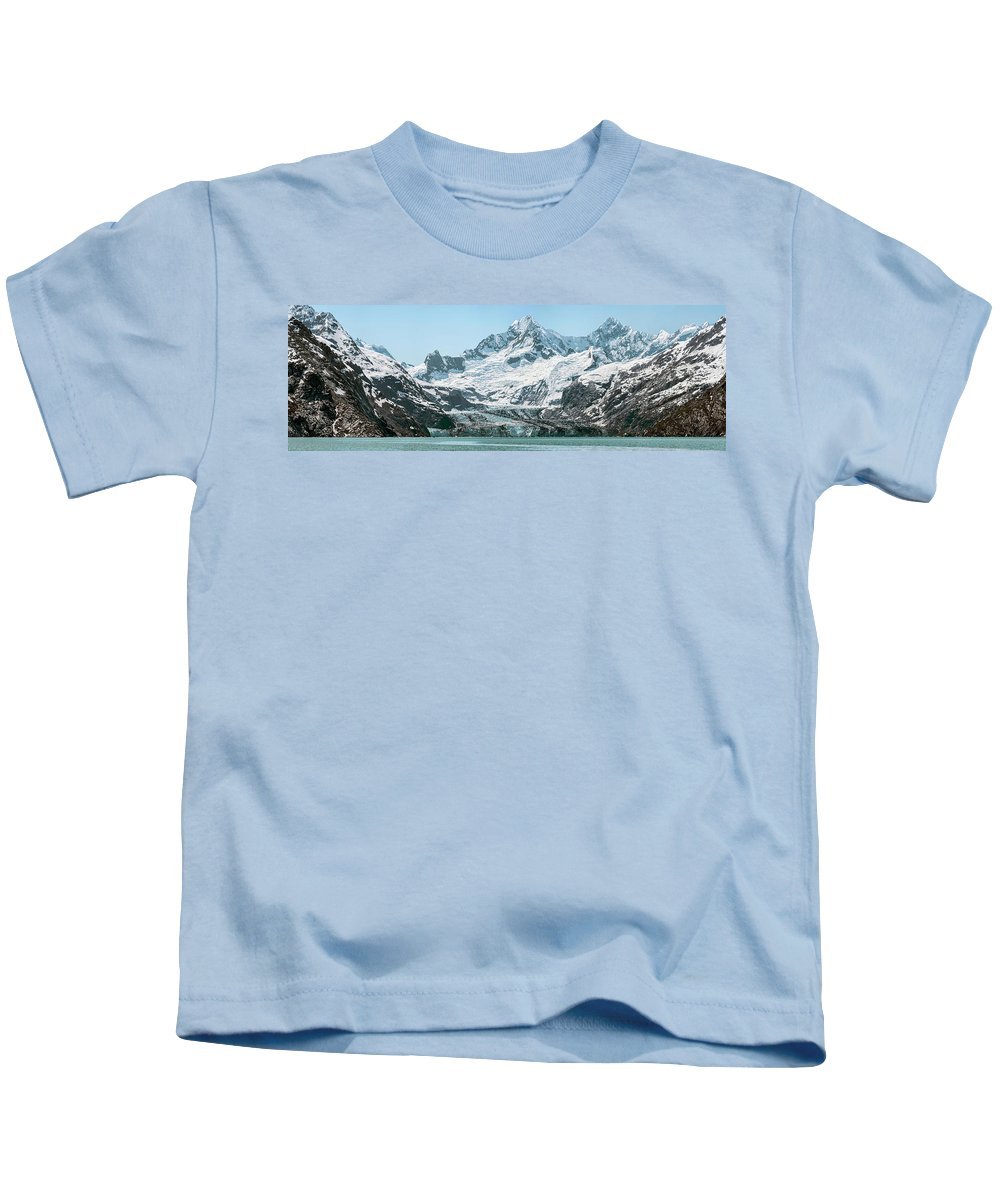 Photography Kids T-Shirt featuring the photograph View Of Margerie Glacier In Glacier Bay by Panoramic Images