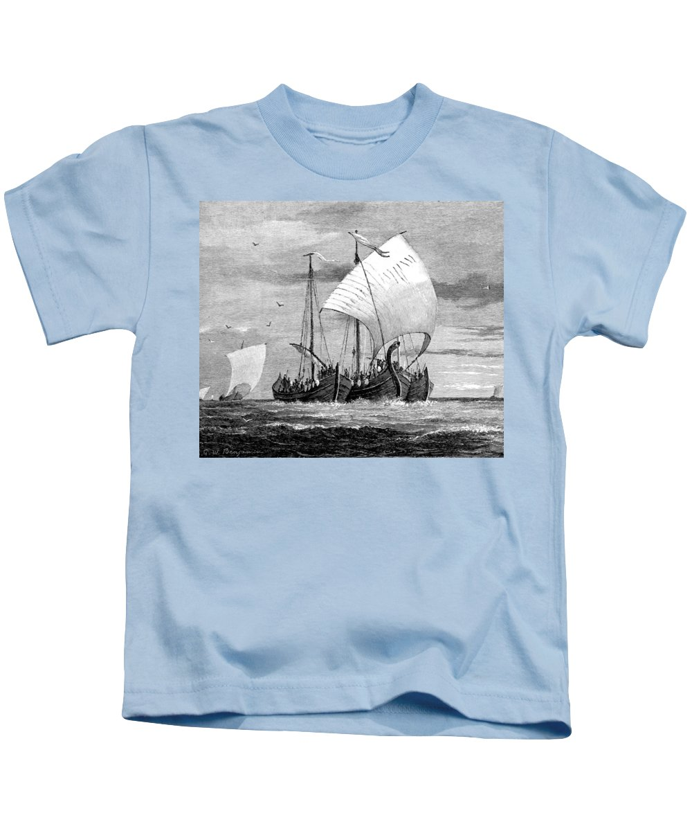 Navigation Kids T-Shirt featuring the photograph Vikings Cross The North Sea by British Library