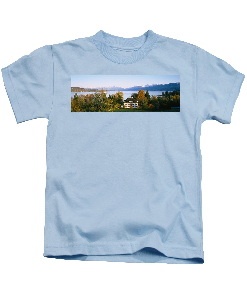 Photography Kids T-Shirt featuring the photograph Villa At The Waterfront, Lake Zurich by Panoramic Images
