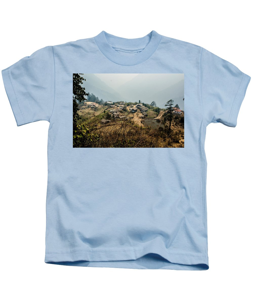 India Kids T-Shirt featuring the photograph Village In Sikkim by Helix Games Photography