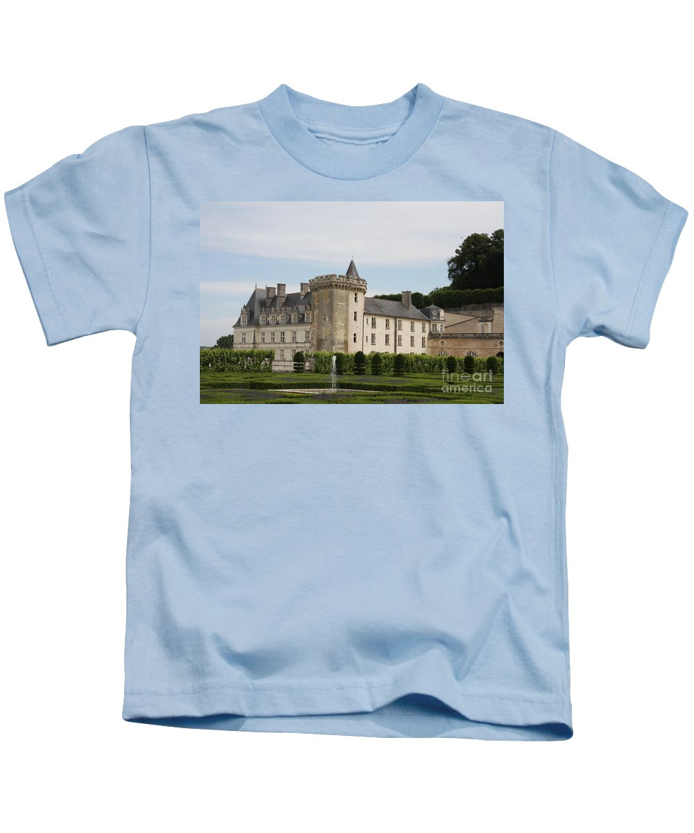 Palace Kids T-Shirt featuring the photograph Villandry Chateau And Boxwood Garden by Christiane Schulze Art And Photography