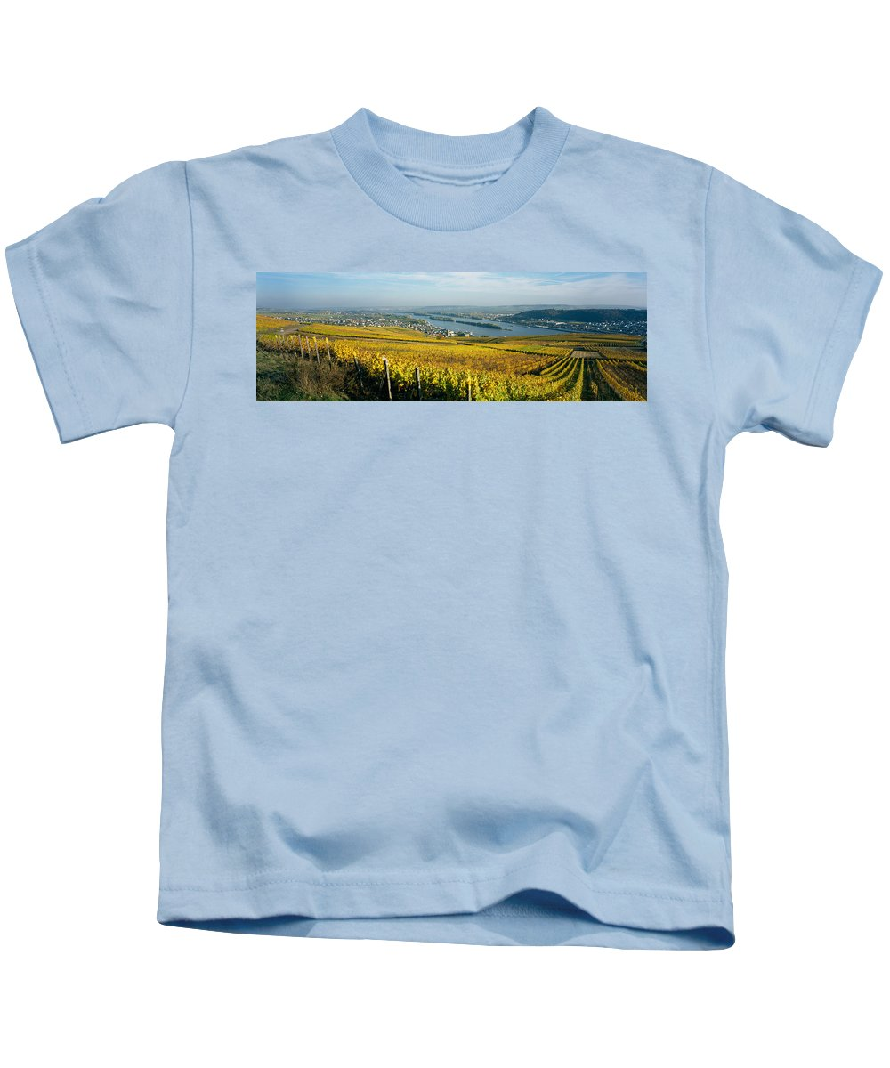 Photography Kids T-Shirt featuring the photograph Vineyards Near A Town, Rudesheim by Panoramic Images
