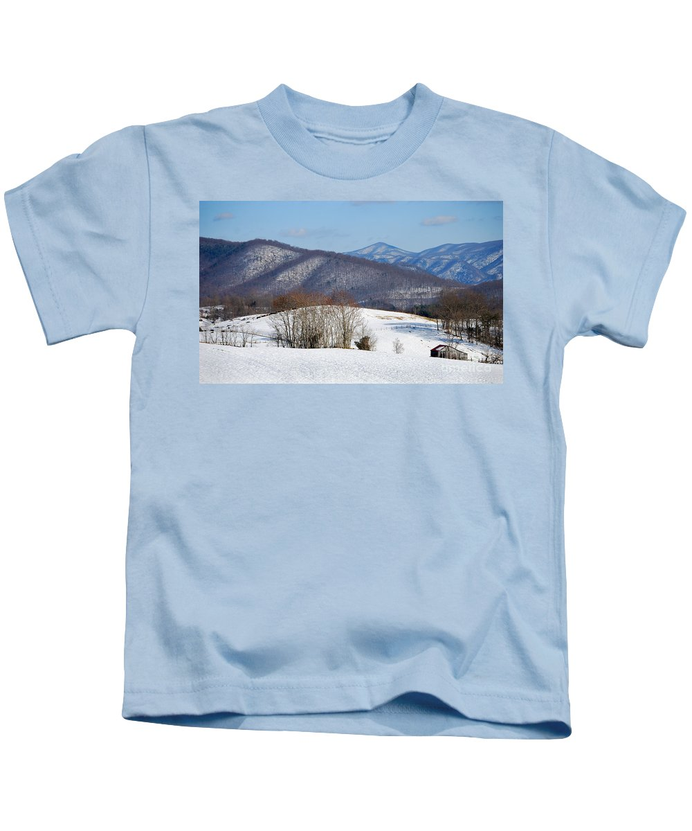 Scenic Tours Kids T-Shirt featuring the photograph Virginia Mountain High by Skip Willits