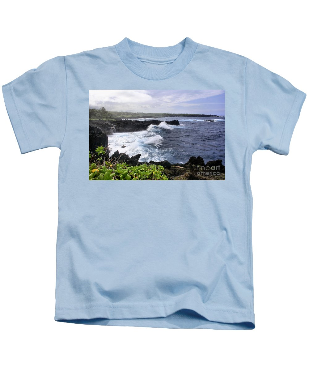 Aloha Kids T-Shirt featuring the photograph Waianapanapa Pailoa Bay Hana Maui Hawaii by Sharon Mau