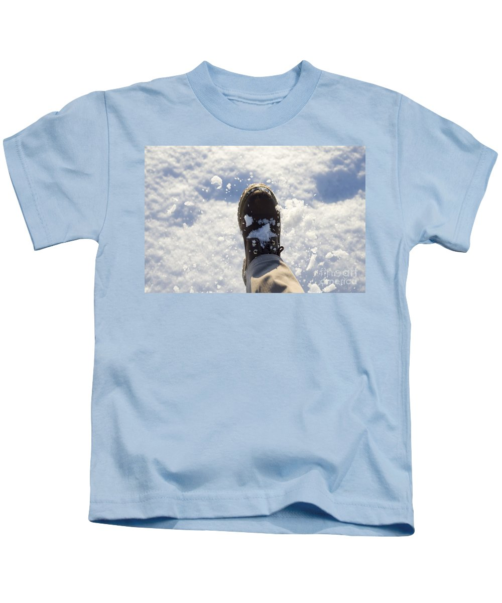 Snow Kids T-Shirt featuring the photograph Walking In The Snow by Mats Silvan