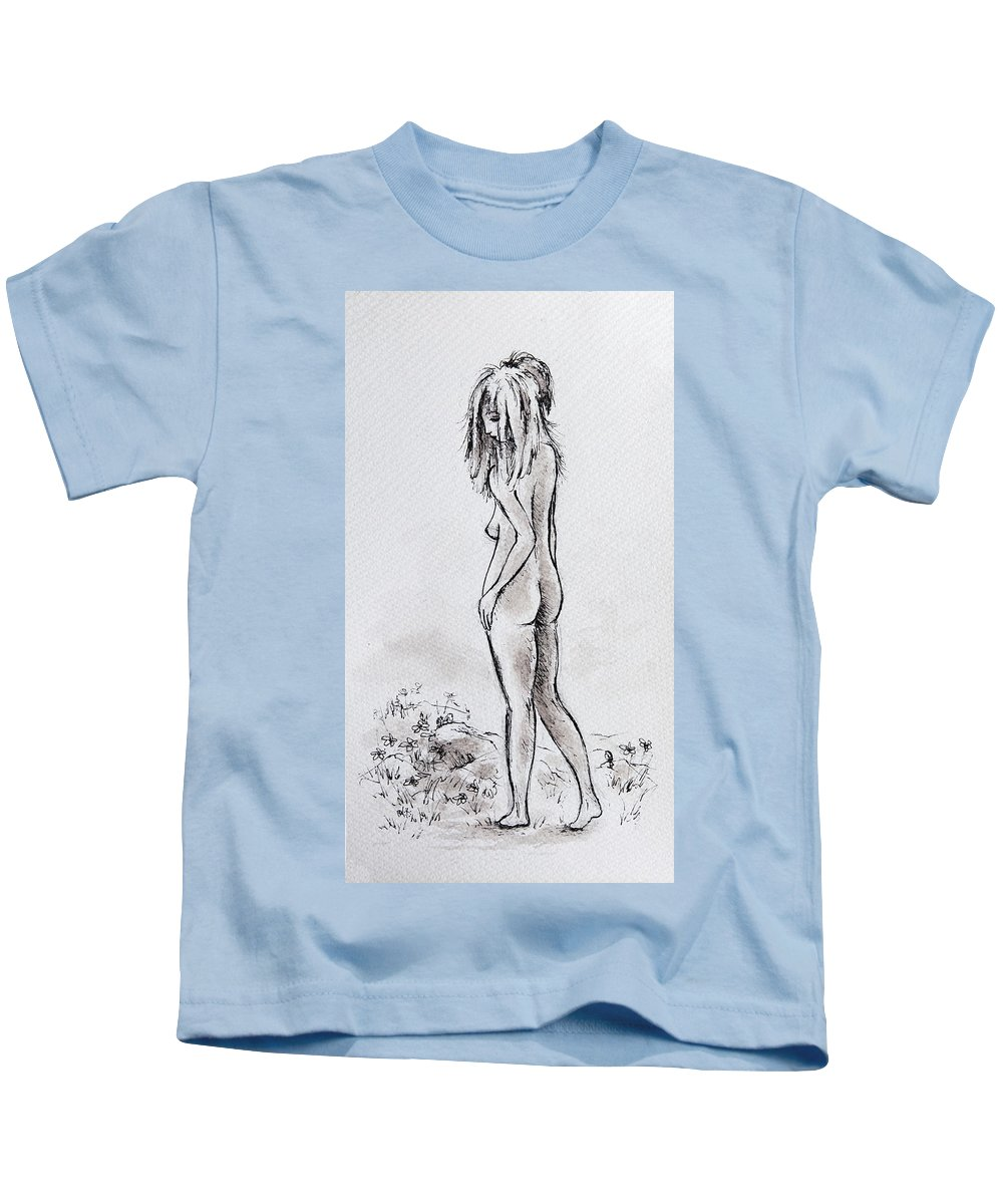 Woman Kids T-Shirt featuring the drawing Walking The Flowers by Rachel Christine Nowicki