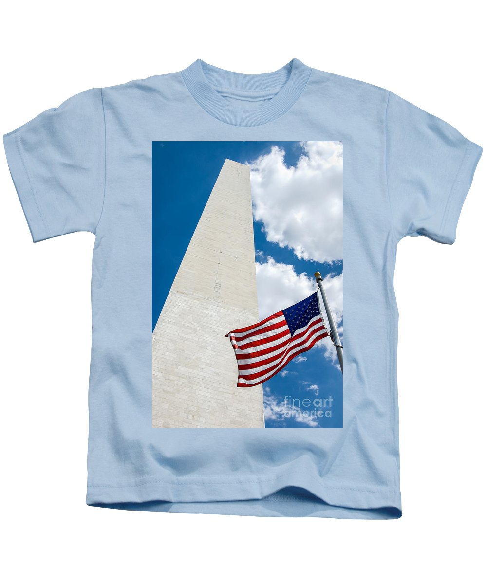 Washington Dc Kids T-Shirt featuring the photograph Washington Monument And Flag by Leslie Banks