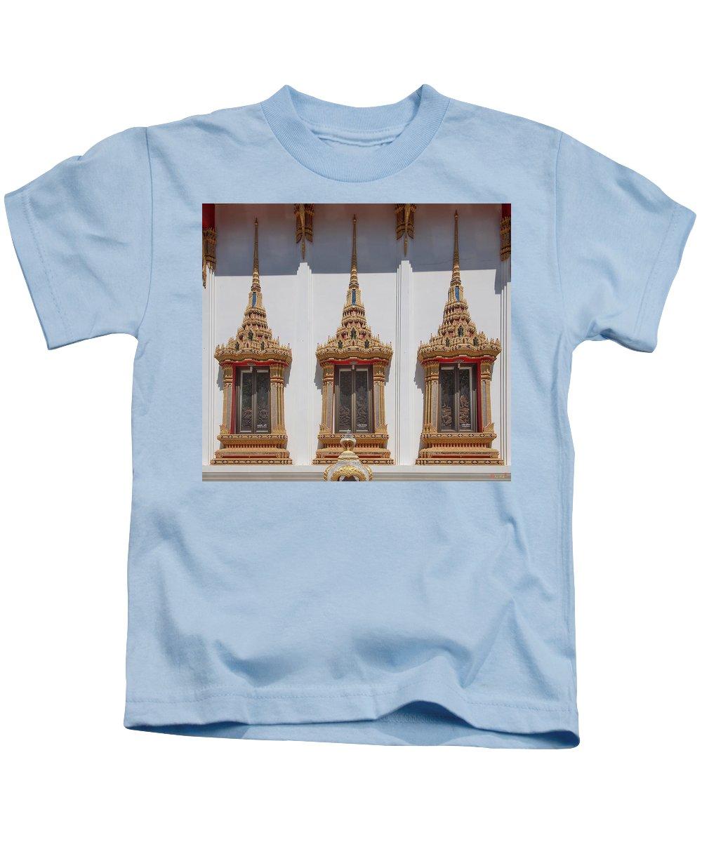 Scenic Kids T-Shirt featuring the photograph Wat Sapum Thammaram Ubosot Windows Dthp227 by Gerry Gantt