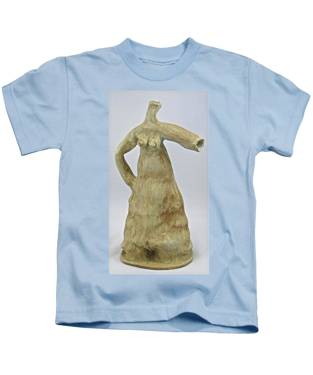 Female Form Kids T-Shirt featuring the sculpture Water Dress by Mario MJ Perron