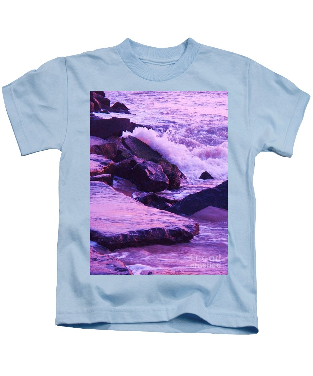 Wave Kids T-Shirt featuring the photograph Waves Breaking On Jetties by Eric Schiabor