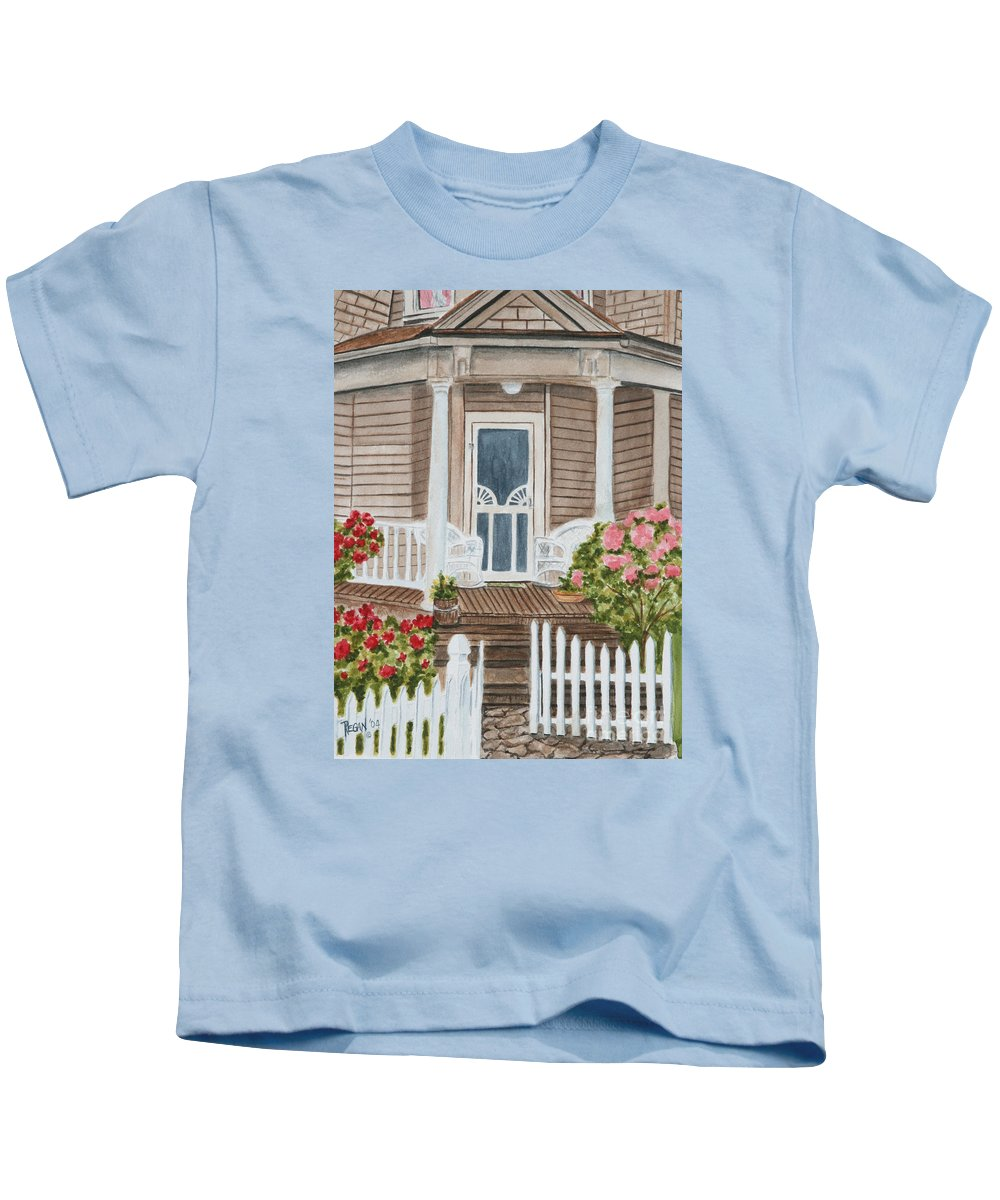Architecture Kids T-Shirt featuring the painting Welcome by Regan J Smith