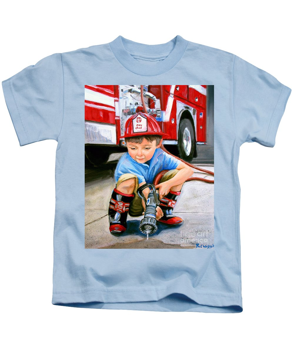 Boy And Fire Truck Kids T-Shirt featuring the painting When I Grow Up by Paul Walsh