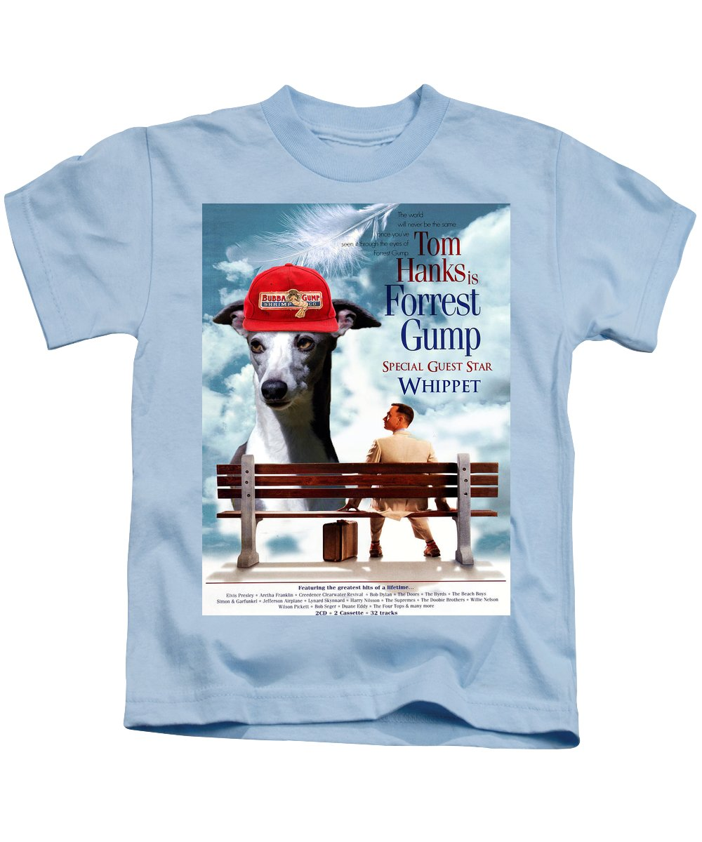Whippet Kids T-Shirt featuring the painting Whippet Art - Forrest Gump Movie Poster by Sandra Sij