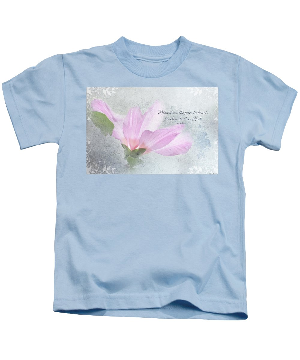 Botanical Kids T-Shirt featuring the photograph Whisper To Me With Verse by Debbie Portwood