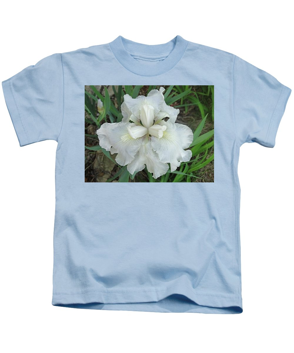 Blooming Flowers Kids T-Shirt featuring the photograph White Iris by Greg Boutz