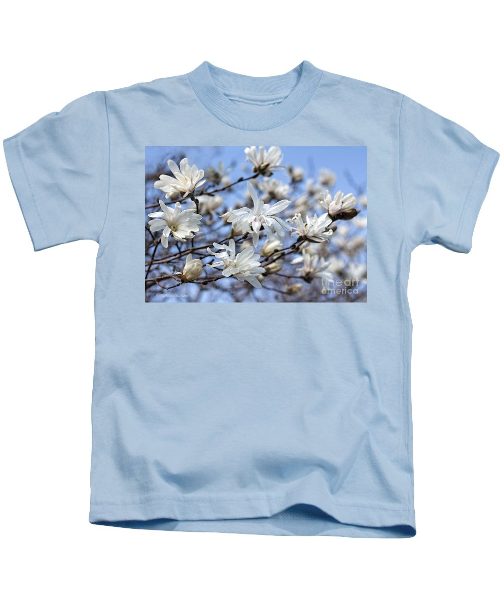 Magnolia Kids T-Shirt featuring the photograph White Magnolia Magnificence by Barbara McMahon
