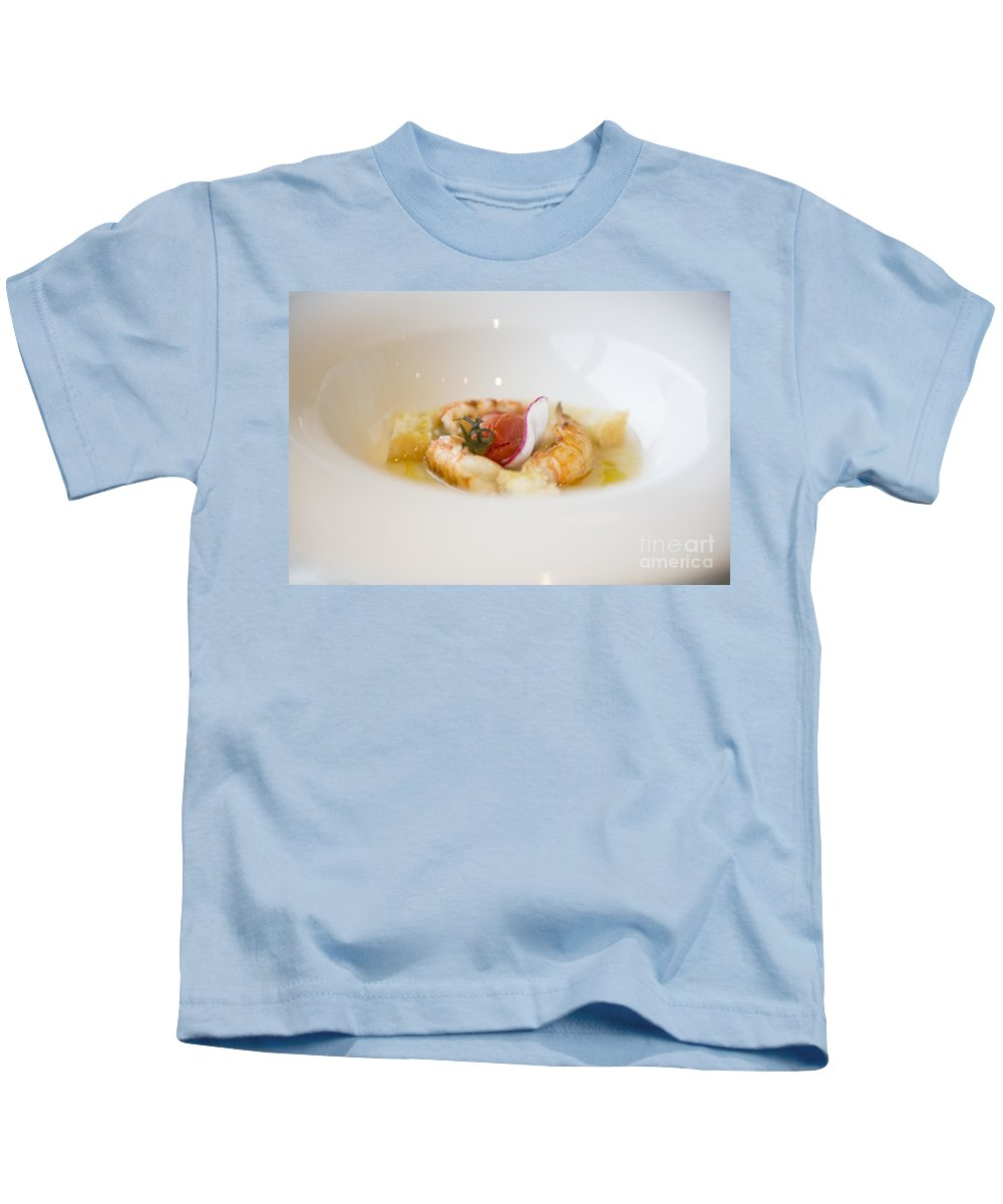 Plate Kids T-Shirt featuring the photograph White Plate With Food by Mats Silvan