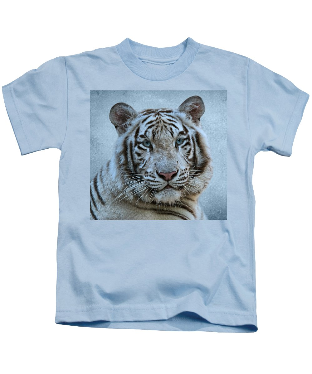 White Tiger Kids T-Shirt featuring the photograph White Tiger by Sandy Keeton