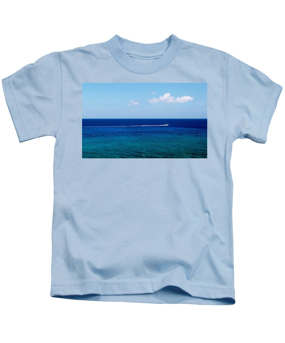 Minimalism Kids T-Shirt featuring the photograph White Wake by Amar Sheow