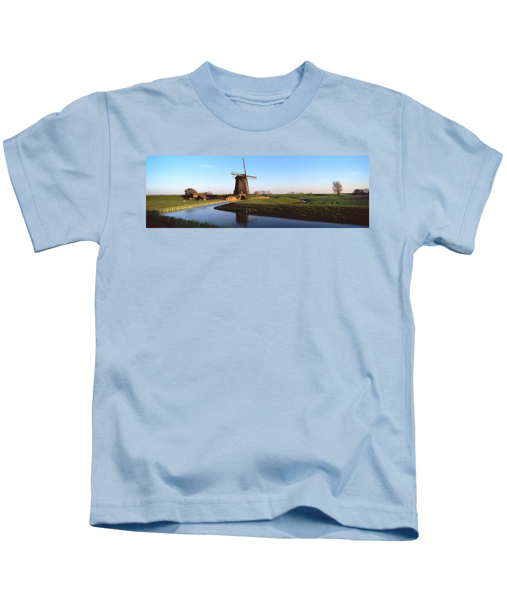 Photography Kids T-Shirt featuring the photograph Windmill, Schermerhorn, Netherlands by Panoramic Images