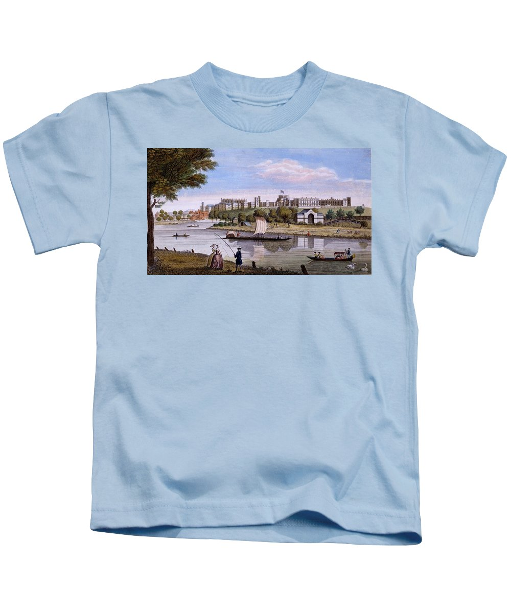 Windsor Castle Kids T-Shirt featuring the drawing Windsor Castle From Across The Thames by English School