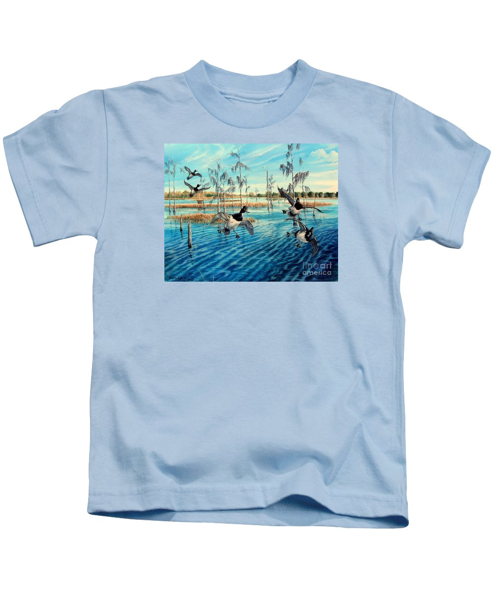 Lake Okeechobee Kids T-Shirt featuring the painting Lake Okeechobee - Ringed Neck Ducks by Daniel Butler