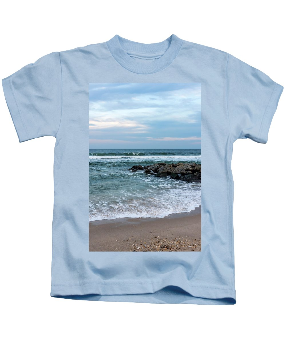 Winter Beach Lavallette New Jersey Kids T-Shirt featuring the photograph Winter Beach Lavallette New Jersey by Terry DeLuco
