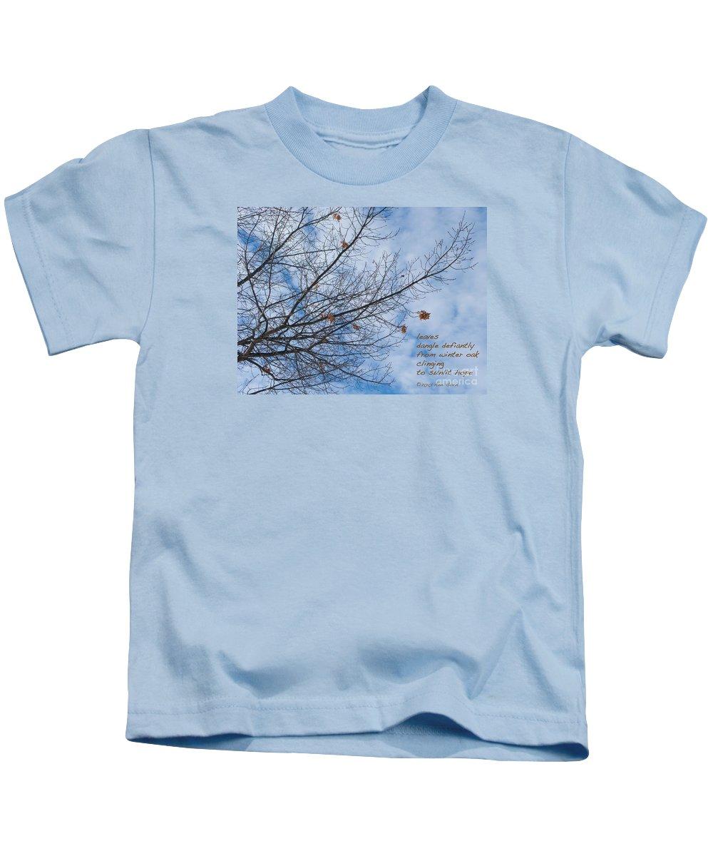 Oak Kids T-Shirt featuring the photograph Winter Hope by Ann Horn