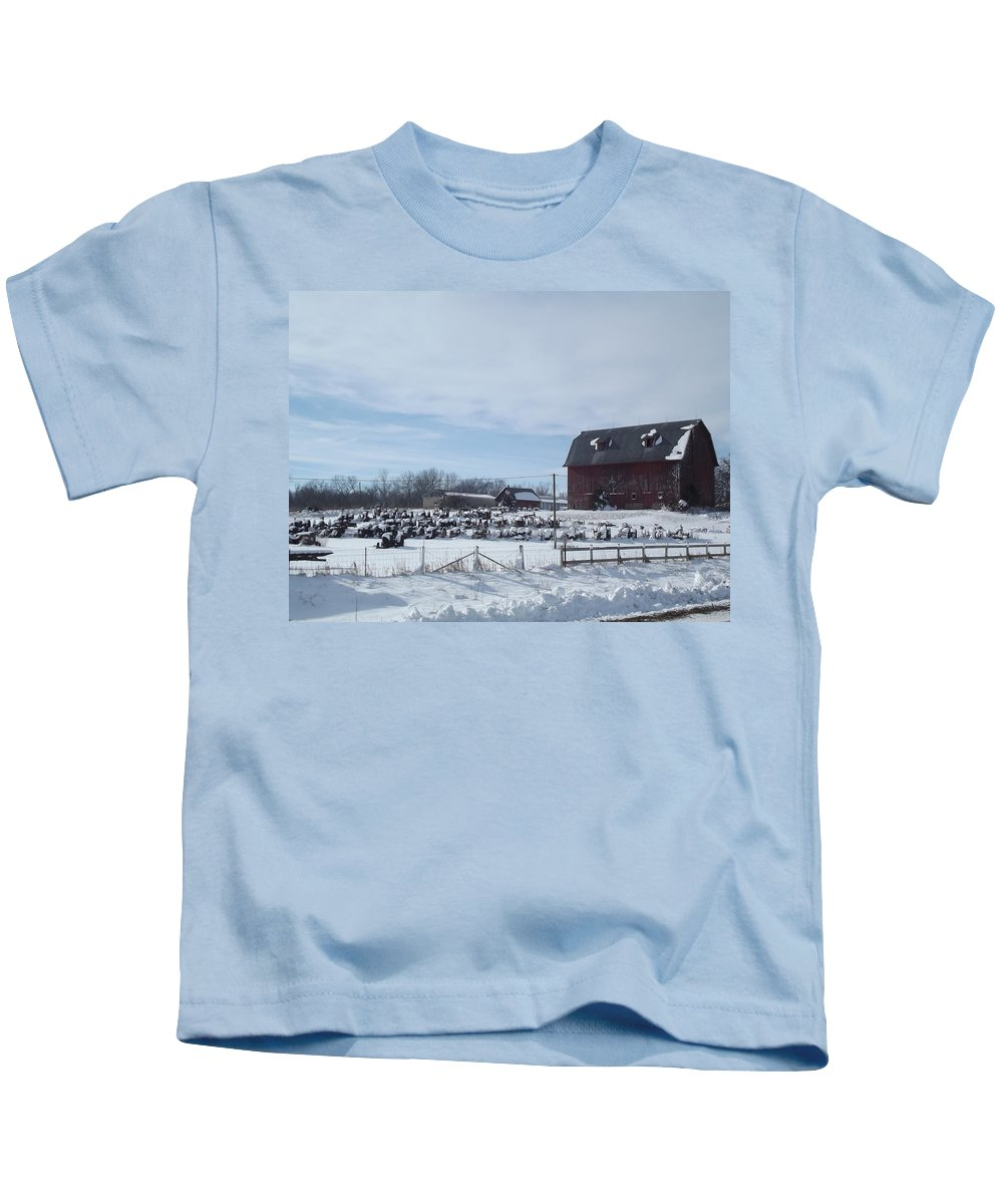 Elkader Iowa Kids T-Shirt featuring the photograph Winter Museum by Bonfire Photography