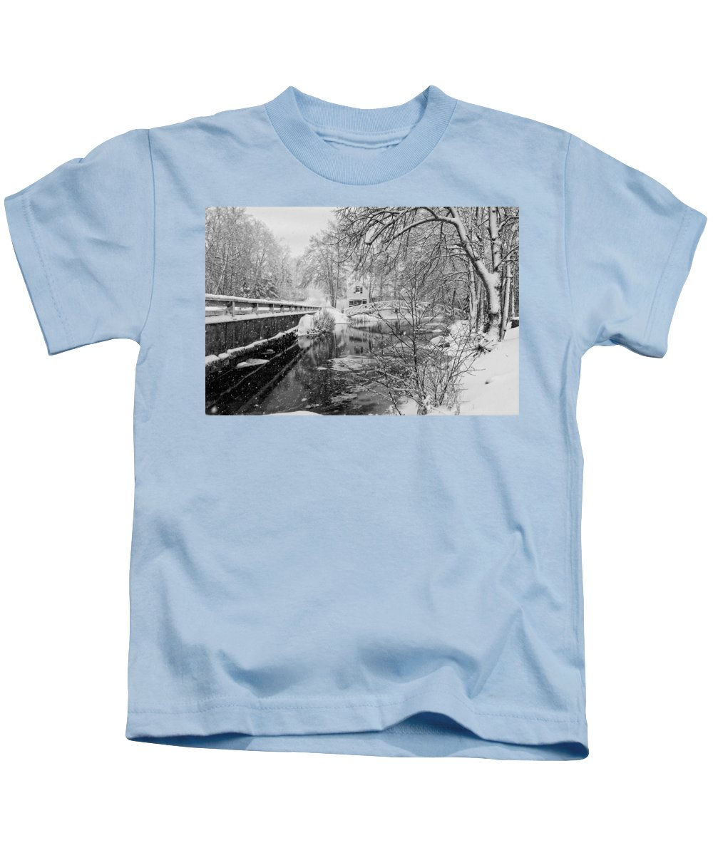 Somesville Kids T-Shirt featuring the photograph Winter Snow Storm In Somesville Maine by Keith Webber Jr