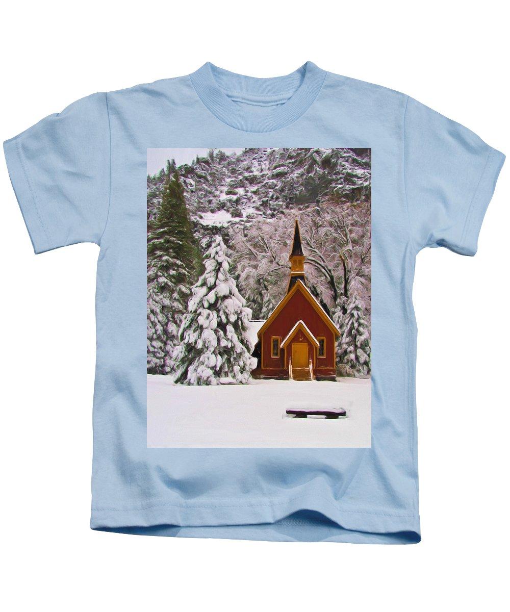 Alpine Kids T-Shirt featuring the photograph Winter Yosemite Chapel by Heidi Smith