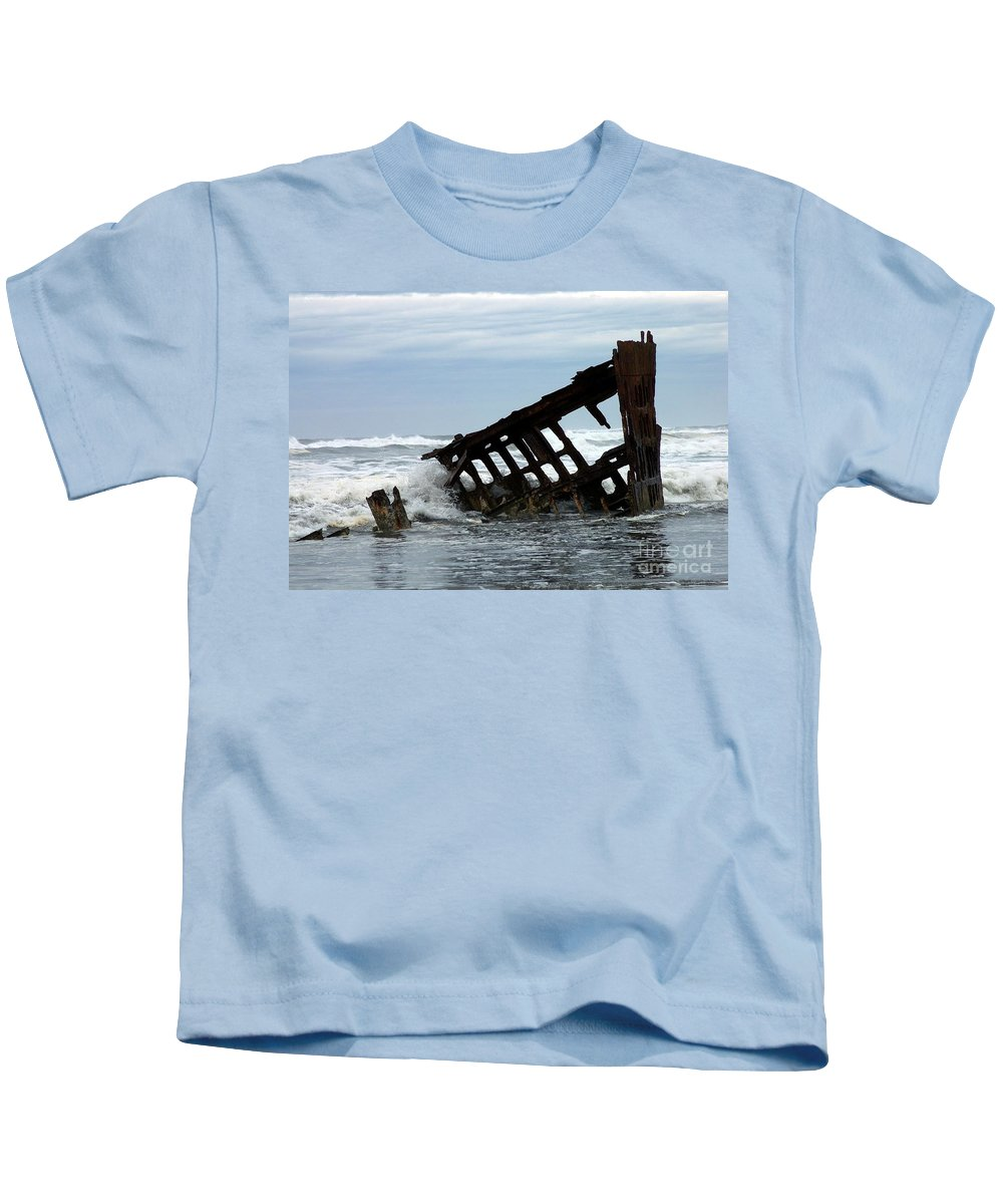 Wreck Of The Peter Iredale Kids T-Shirt featuring the photograph Wreck Of The Peter Iredale by Chalet Roome-Rigdon