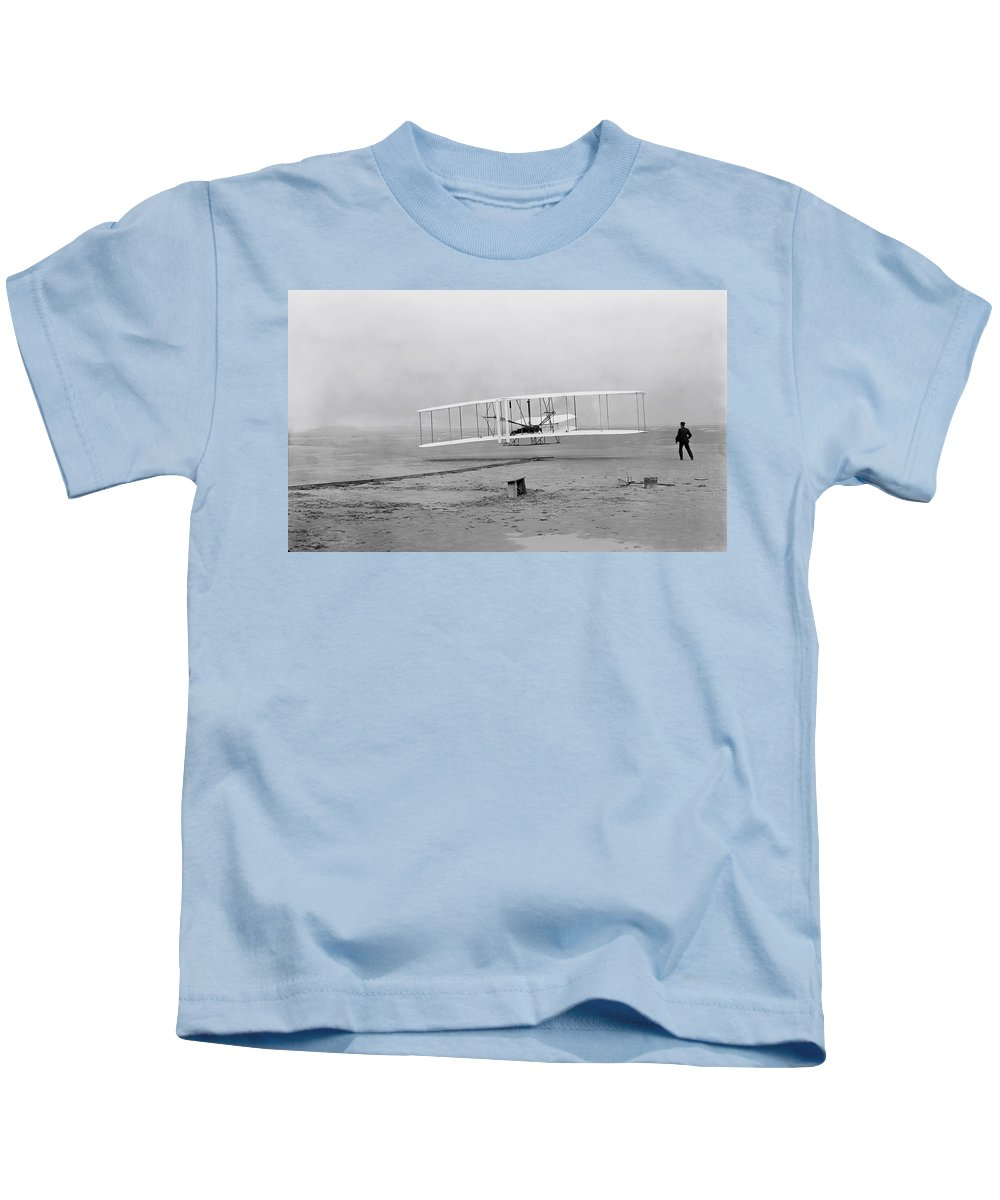 Wright Flyer Kids T-Shirt featuring the photograph Wright Flyer At Kitty Hawk North Carolina by Mountain Dreams