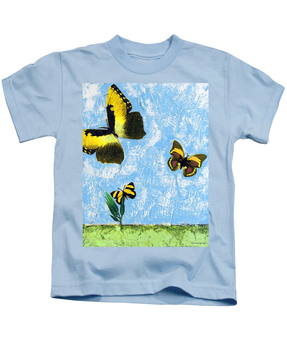 Butterfly Kids T-Shirt featuring the painting Yellow Butterflies - Spring Art By Sharon Cummings by Sharon Cummings