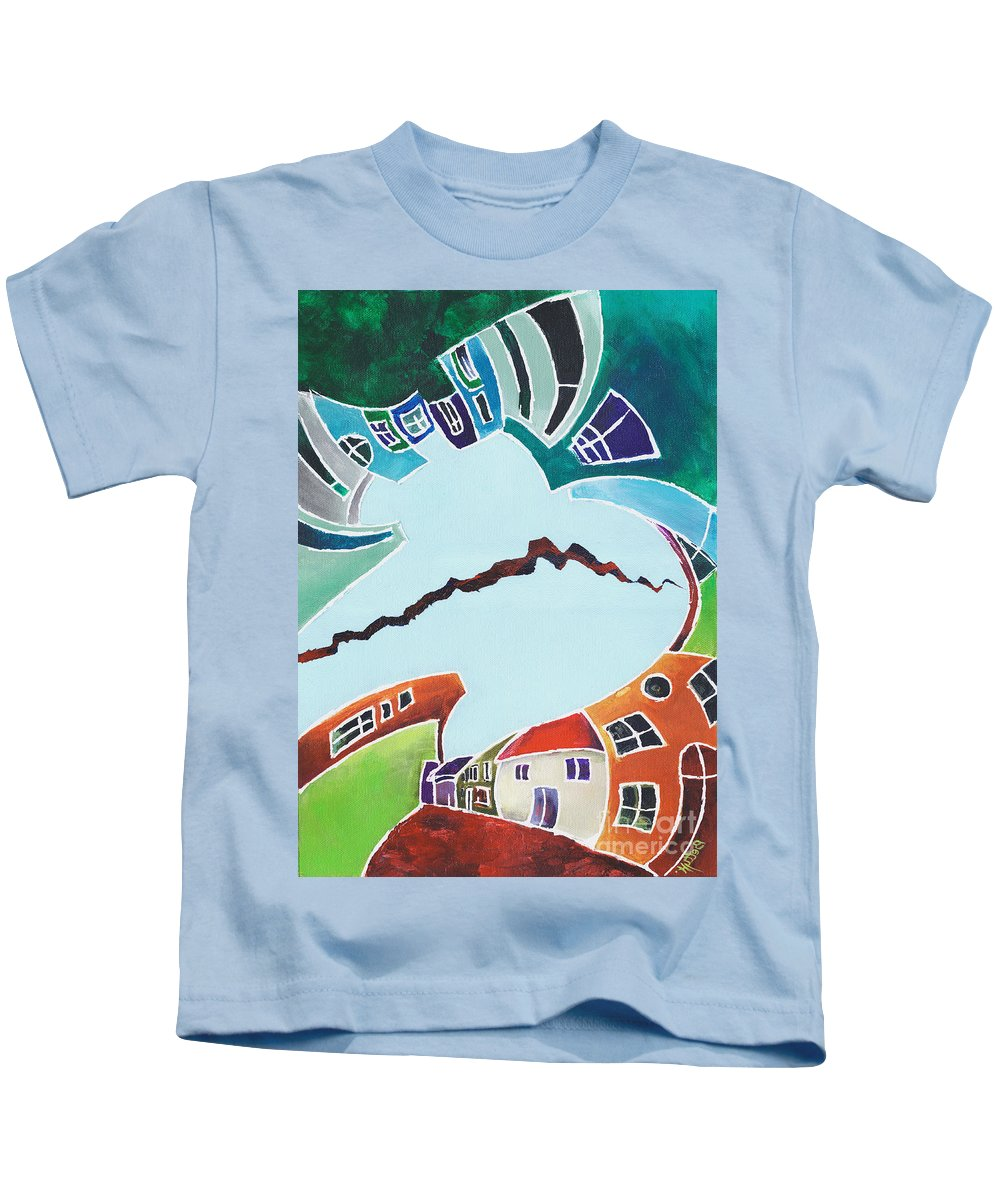 Canvas Prints Kids T-Shirt featuring the painting Your Reality Or Mine. Realities Vis-a-vis Or When A Rupture Matters by Elisabeta Hermann
