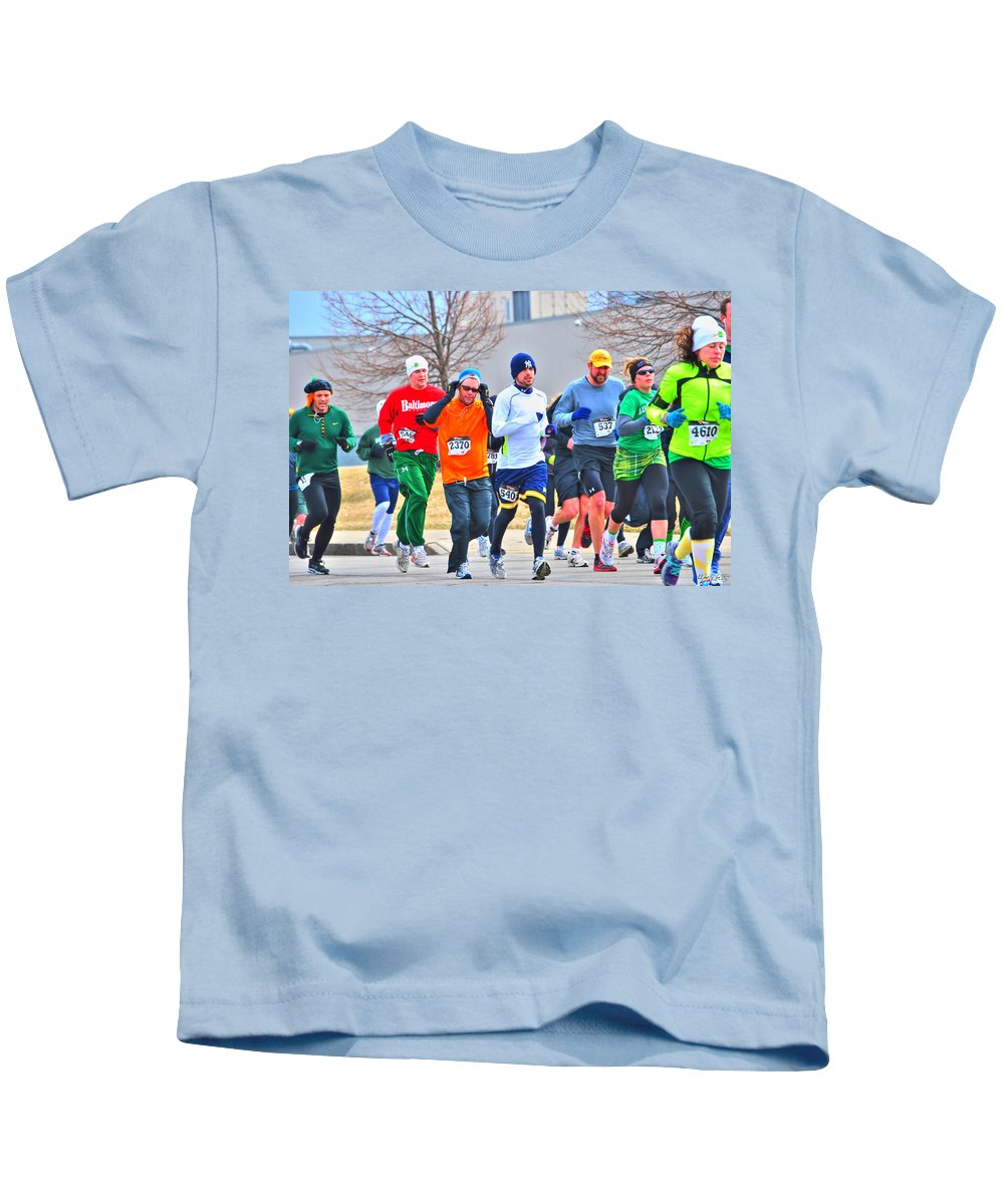 Kids T-Shirt featuring the photograph 022 Shamrock Run Series by Michael Frank Jr