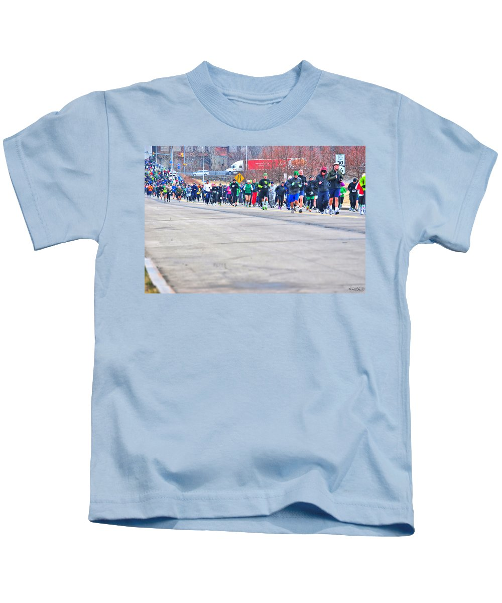Kids T-Shirt featuring the photograph 026 Shamrock Run Series by Michael Frank Jr