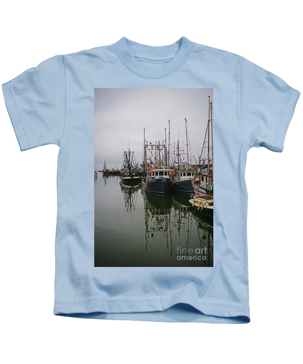Fishing Boats Kids T-Shirt featuring the photograph Boat Reflections by Randy Harris