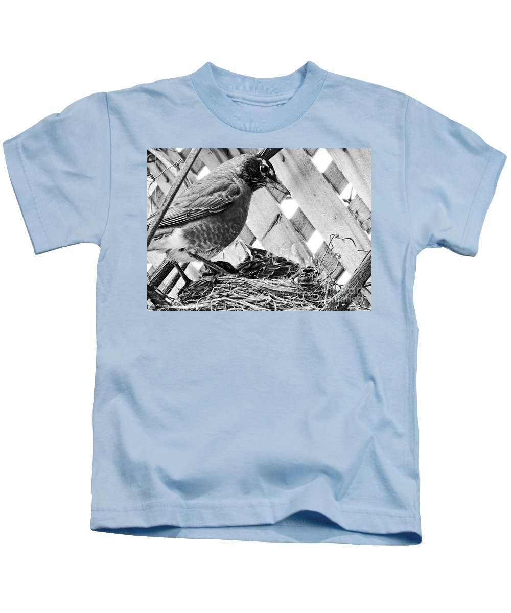 Robin Kids T-Shirt featuring the photograph Early Bird by Traci Cottingham