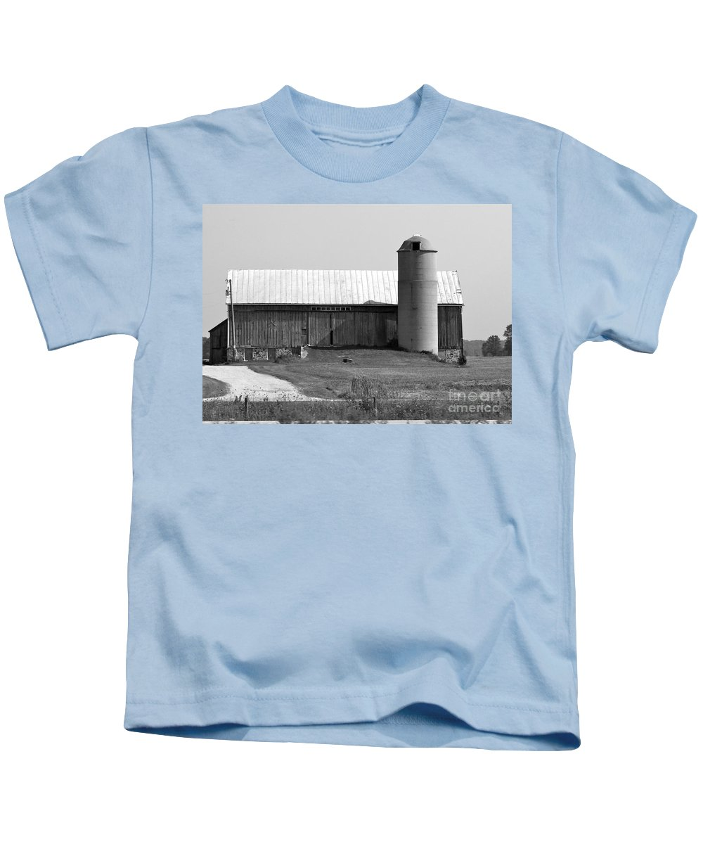 Old Barn And Silo Kids T-Shirt featuring the photograph Old Barn And Silo by Pamela Walrath