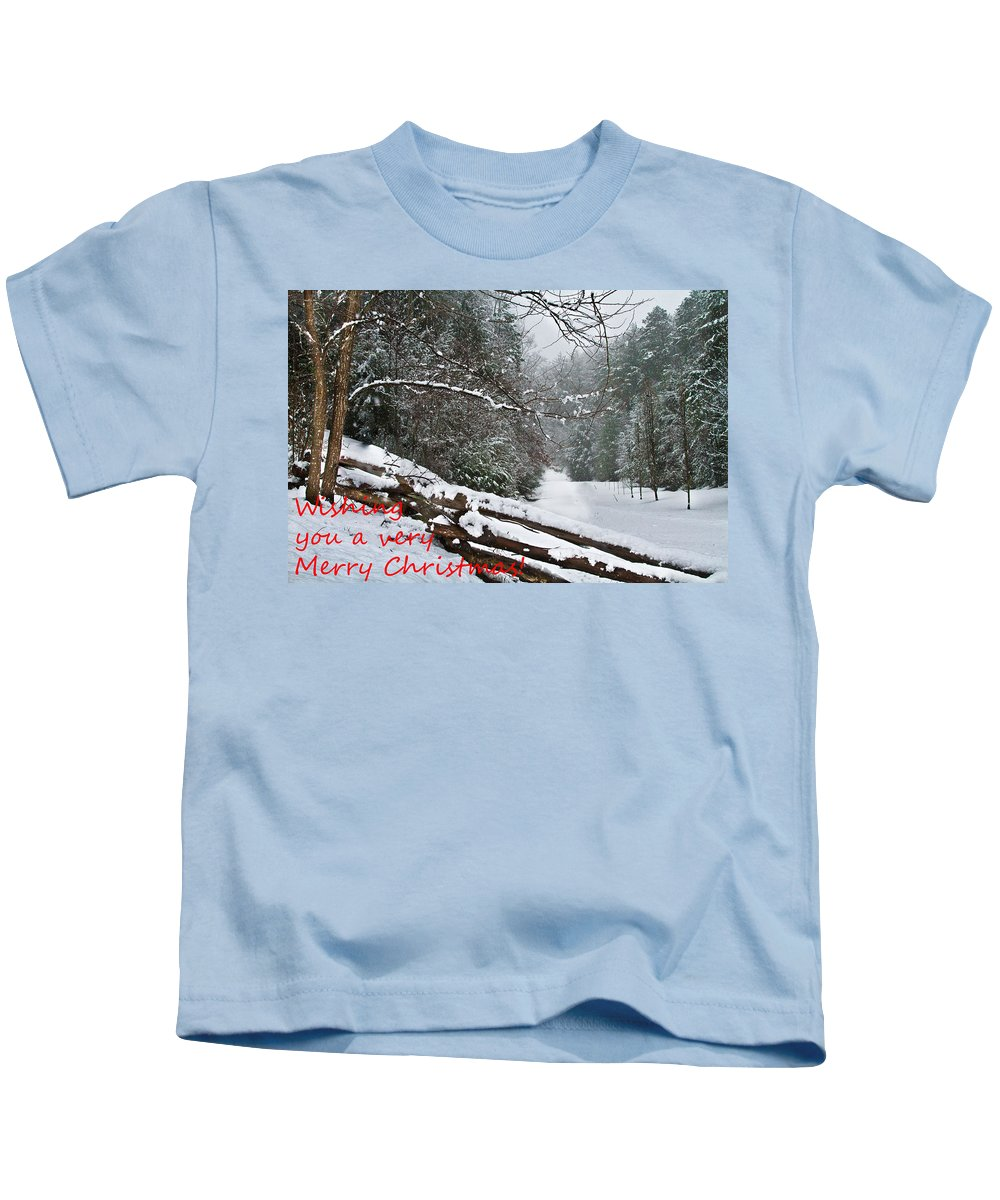 Appalachia Kids T-Shirt featuring the photograph Snowy Fence by Debra and Dave Vanderlaan